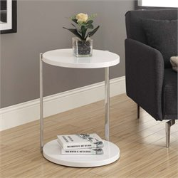 Round End Table in Glossy White and Chrome