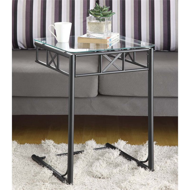 Square glass top metal side table in black i 3077 Black glass side tables for living room