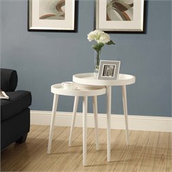 2 Piece Nesting Table Set in White