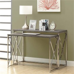 2 Piece Nesting Console Table Set in Dark Taupe and Chrome