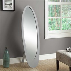 Oval Contemporary Mirror in Gray