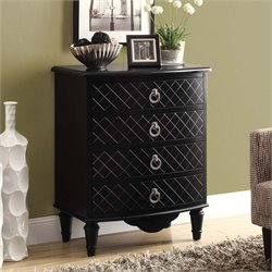 4 Drawer Contemporary Diamond Accent Chest in Black