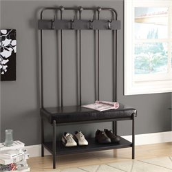 Metal Hall Tree Entry Bench in Charcoal Gray