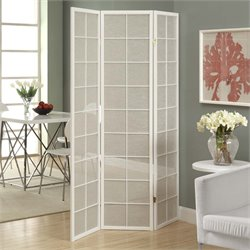 3 Panel Fabric Inlay Room Divider in White