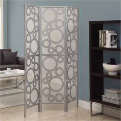 3 Panel Bubble Design Room Divider in Silver