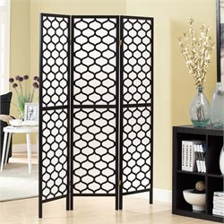 3 Panel Lantern Design Room Divider in Black