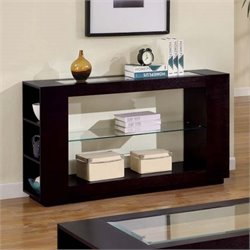 Glass Top Console Table in Cappuccino