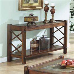 Slate Top Console Table in Dark Brown