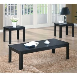 3 Piece Coffee Table Set in Black