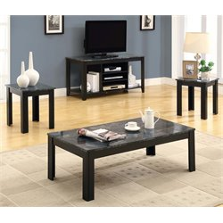 3 Piece Faux Marble Top Coffee Table Set in Black and Gray