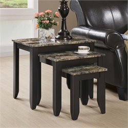 3 Piece Faux Marble Top Nesting Table Set in Cappuccino