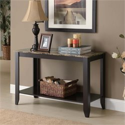 Faux Marble Top Console Table in Cappuccino