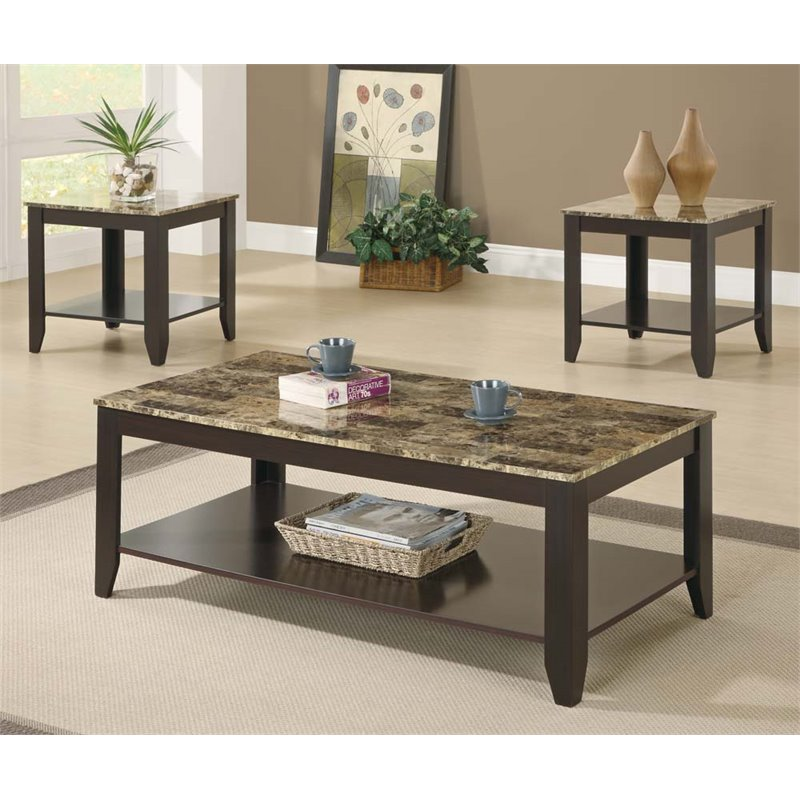 3 Piece Faux Marble Top Coffee Table Set In Cappuccino I 7984p
