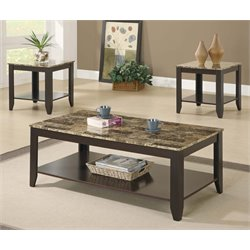 3 Piece Faux Marble Top Coffee Table Set in Cappuccino
