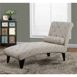 Fabric Chaise Lounge in Sandstone Gray Maze