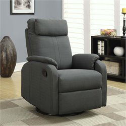 Fabric Swivel Rocker Recliner in Charcoal Gray