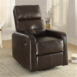 Leather Swivel Glider Recliner in Brown