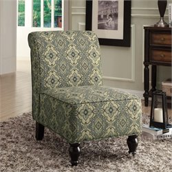 Traditional Fabric Accent Chair in Blue Turquoise Tapestry