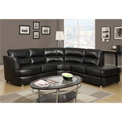 Right Facing Leather Sectional in Black