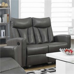 Leather Reclining Loveseat in Charcoal Gray