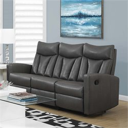 Leather Reclining Sofa in Charcoal Gray