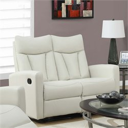 Leather Reclining Loveseat in Ivory