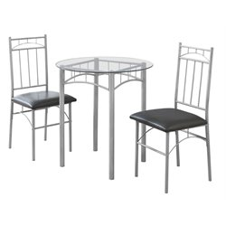 Monarch 3 Piece Round Dinette Set in Silver