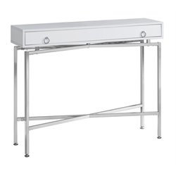 Monarch Console Table in Glossy White and Chrome