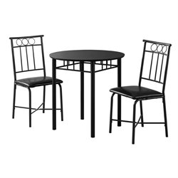 Monarch 3 Piece Round Dining Set in Black Metal