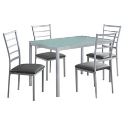 Monarch 5 Piece Dining Set in Silver