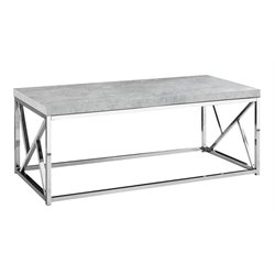 Monarch Coffee Table in Gray Cement and Chrome