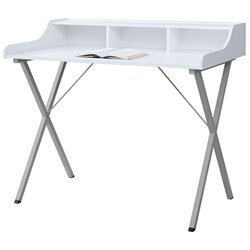 Monarch Writing Desk in White and Silver