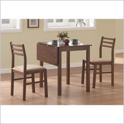 3 Piece Solid-Top Drop Leaf Dining Set in Walnut