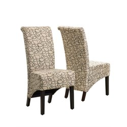 Fabric Parson Dining Chair in Tan Swirl (Set of 2)