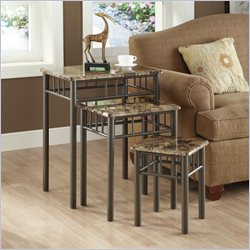 3 Piece Metal Nesting Tables in Cappuccino Marble and Bronze