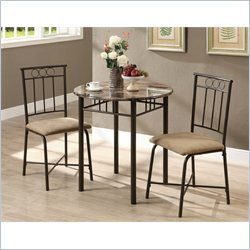 3 Piece Metal Bistro Set in Cappuccino Marble and Bronze