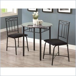 3 Piece Metal Bistro Set in Grey Marble and Charcoal