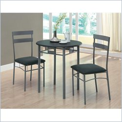 3 Piece Bistro Set in Black and Silver