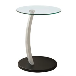 Bentwood Accent Table with Tempered Glass Top in Black and Silver