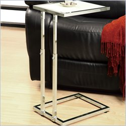 Metal Adjustable Height Accent Table in Chrome