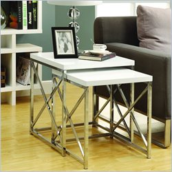 2 Piece Metal Nesting Tables in Glossy White and Chrome