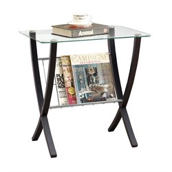 Bentwood Magazine Table with Tempered Glass Top in Cappuccino