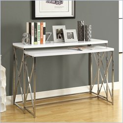 2 Piece Metal Console Table Set in Glossy White and Chrome