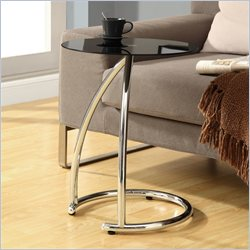 Metal Accent Table with Frosted Tempered Glass Top in Chrome