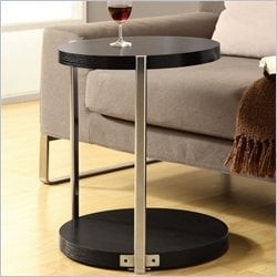 Metal Accent Table in Cappuccino and Chrome