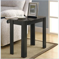 Accent End Table in Black and Grey Marble