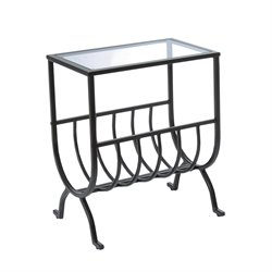 Metal Magazine Table in Brown with Tempered Glass