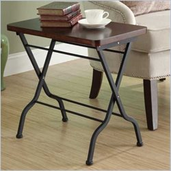 Metal Folding Accent End Table in Cherry and Charcoal Black