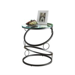 Metal Accent Table in Matte Black with Tempered Glass