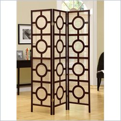 3 Panel Circle Design Room Divider in Cappuccino